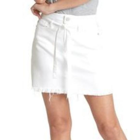 Dear John Nemesis optic white denim mini skirt